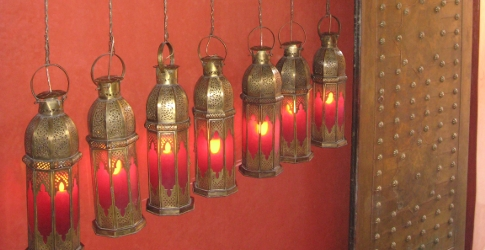 Lanterns in the red lacquered hallway, Cafe Arabe, Marrakech