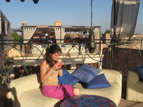 Phoebe in the terrace bar at Cafe Arabe, Marrakech